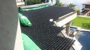 synthetic roof, green roof, play area, synthetic turf play area, synthetic turf, artificial turf, turf drainage, air grid, airdrain, rooftop drainage